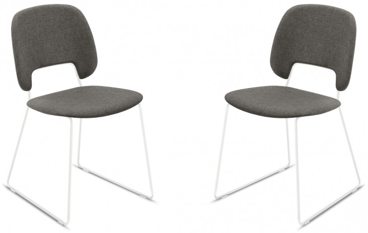 Traffic Flirt Brown Lacquered Steel White Frame Stacking Chair Set of 2