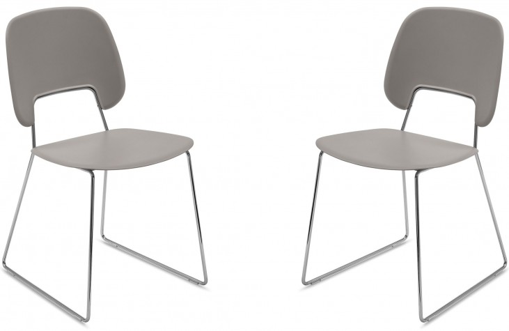 Traffic Sand Lacquered Steel Chrome Frame Stacking Chair Set of 2