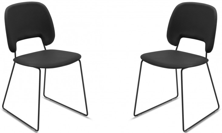 Traffic Skill Black Lacquered Steel Stacking Chair Set of 2