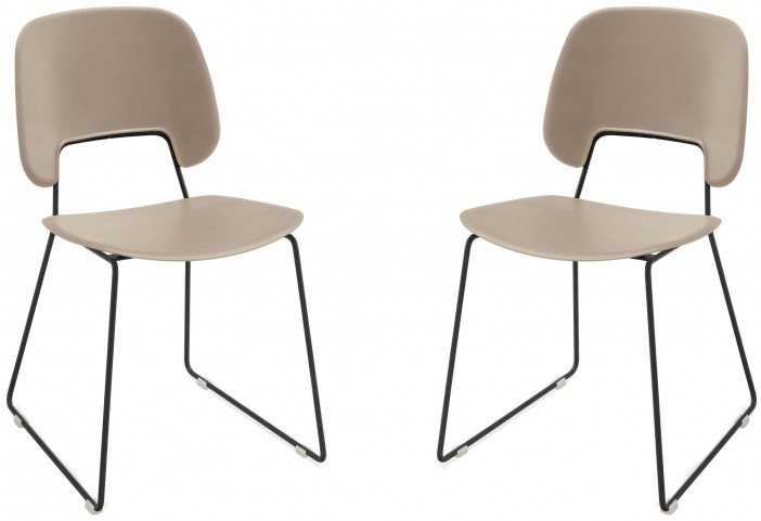 Traffic Sand Lacquered Steel Black Frame Stacking Chair Set of 2