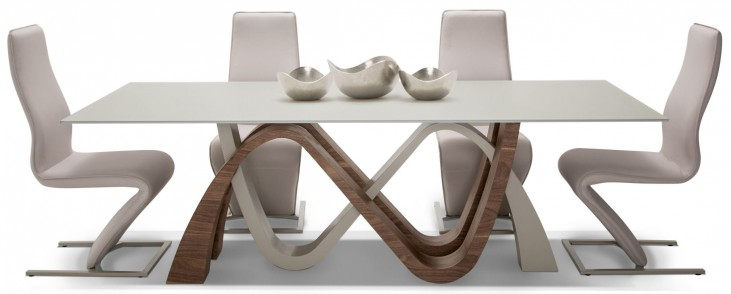 Trance White and Brown Dining Room Set