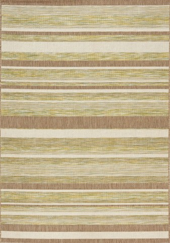 Trellis Green/Brown/Beige Stripes Flatweave Medium Rug