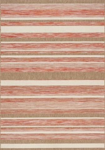 Trellis Red/Brown/Beige Stripes Flatweave Medium Rug