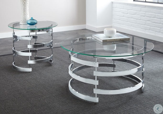 Tayside Glass Top Round Occasional Table Set