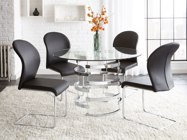 Tayside Glass Top Round Dining Room Set
