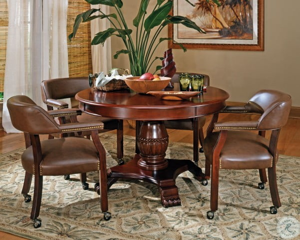 Tournament Brown Round Folding Game Room Set