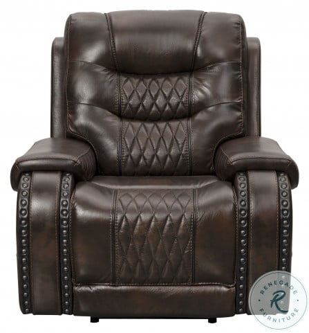 A889D-405-1749 Brown Leather and Fabric Power Reclining Living Room Set