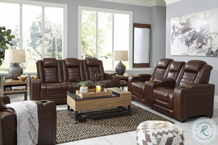 Backtrack Chocolate Power Reclining Living Room Set With Power Headrest