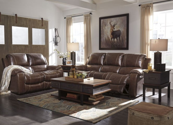 Rackingburg Mahogany Power Reclining Living Room Set