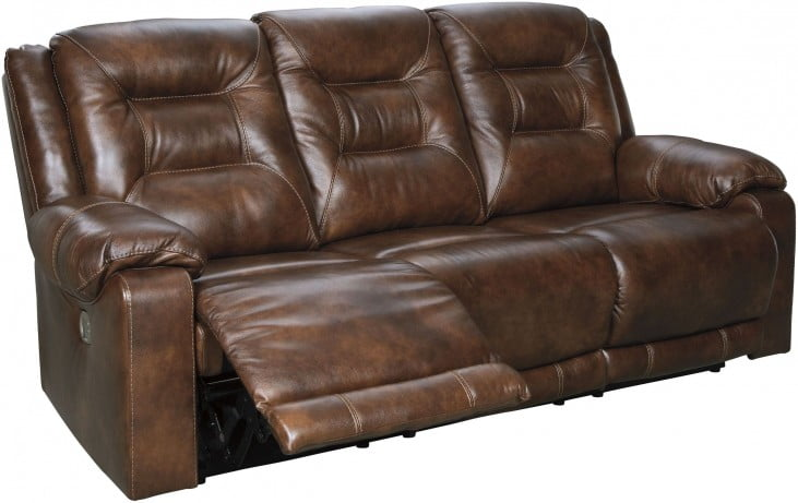 Golstone Brown Power Reclining Sofa With Adjustable