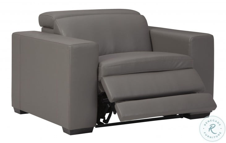 Texline Gray Power Recliner With Power Headrest