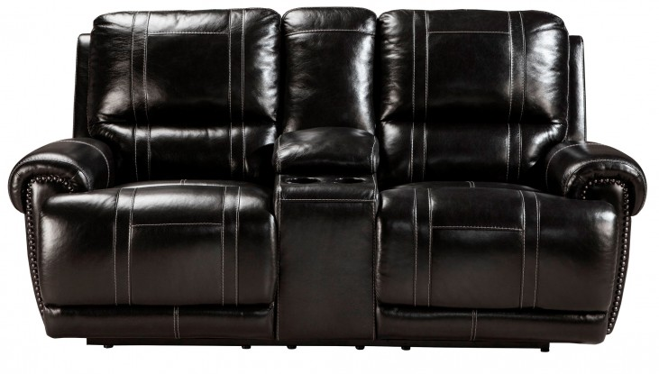 Paron Antique Double Reclining Loveseat With Console