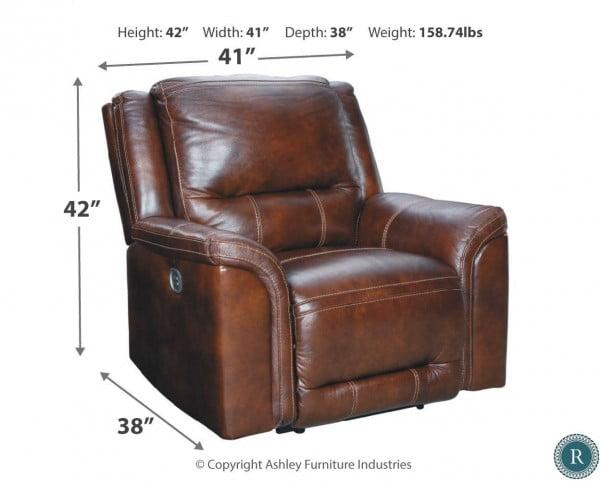 Catanzaro Mahogany Leather Power Recliner with Adjustable Headrest