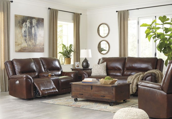 Catanzaro Brown Leather Power Reclining Living Room Set With Adjustable Headrest From Ashley Coleman Furniture
