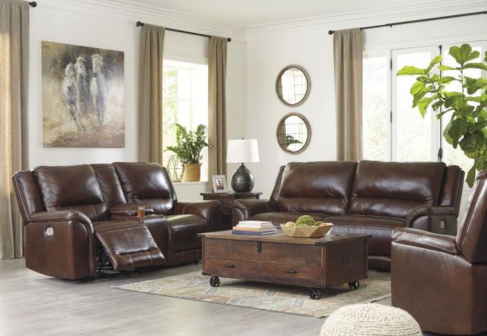 Catanzaro Mahogany Leather Power Reclining Living Room Set with Adjustable Headrest