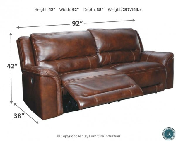 Catanzaro Brown 2 Seat Power Reclining Sofa With Adjustable Headrest