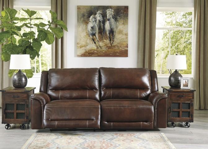 Catanzaro Brown 2 Seat Power Reclining Sofa With Adjustable Headrest