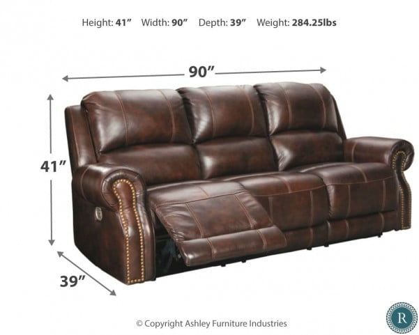 Buncrana Brown Power Reclining Sofa with Adjustable Headrest from ...