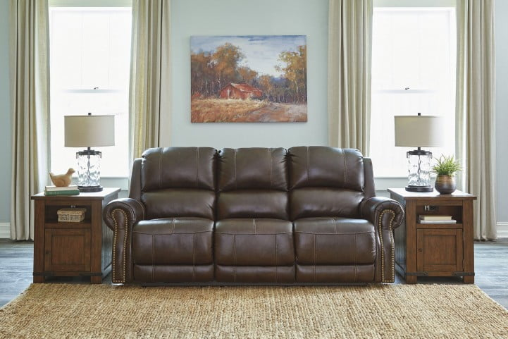 Buncrana Brown Power Reclining Sofa With Adjustable Headrest From