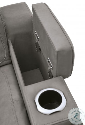 The Man-Den Gray Leather Power Reclining Living Room Set with Adjustable Headrest