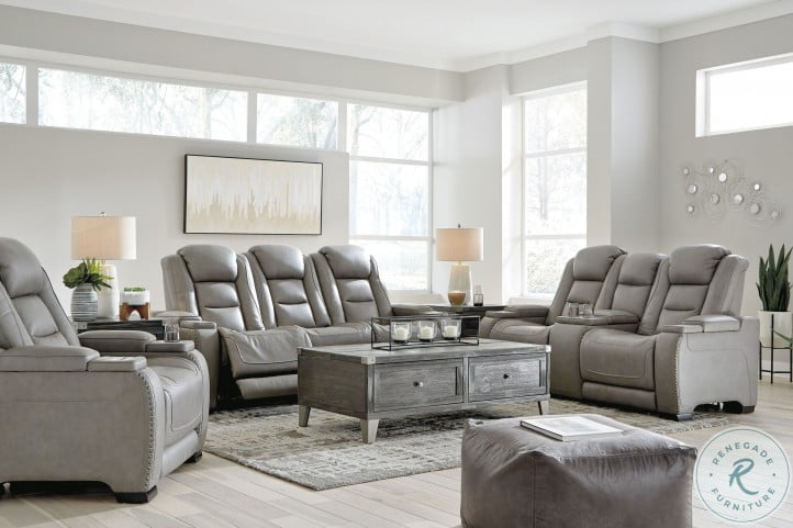 The Man Den Gray Leather Power Reclining Living Room Set With Adjustable Headrest From Ashley Coleman Furniture