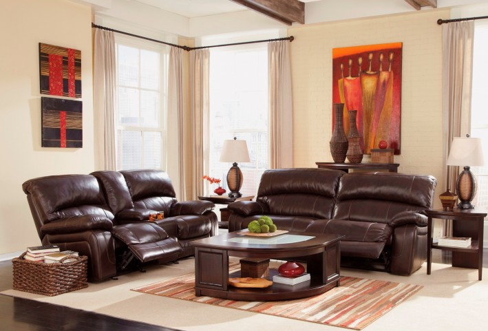 Damacio dark brown reclining living room set from ashley for 7 seater living room set