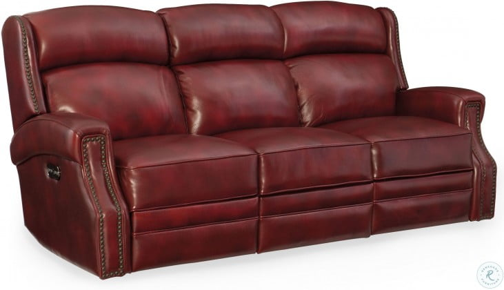 Carlisle Red Leather Power Reclining Sofa With Power Headrest