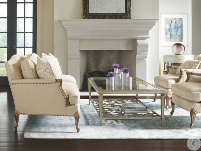 Caracole Upholstery Delicate Neutral French Living Room Set