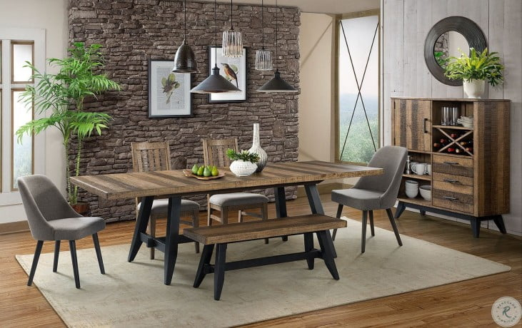 Urban Rustic Rectangular Trestle Extendable Dining Room Set From Intercon Coleman Furniture