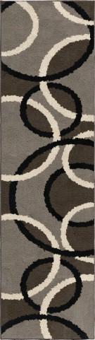 Utopia Plush Circles Magic Rings Gray Runner Rug