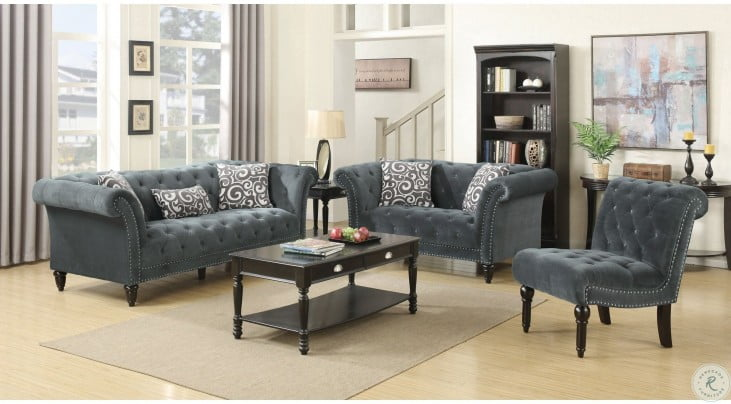 Twine Slate Gray Living Room Set With Gray Scroll Pillows