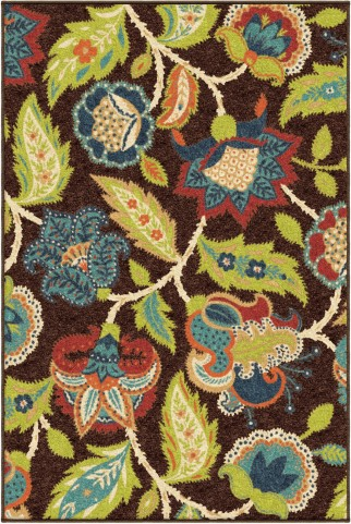 Orian Rugs Indoor/Outdoor Floral Ethridge Brown Area Medium Rug