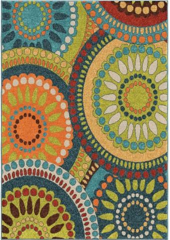 Orian Rugs Indoor/Outdoor Circles Merrifield Collage Multi Area Medium Rug