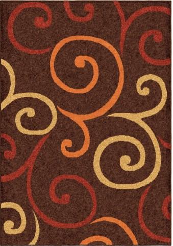 Orian Rugs Indoor/Outdoor Scroll Semi Swirls Brown Area Medium Rug