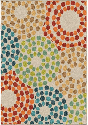 Veranda Indoor/Outdoor Circles Brandon Berry Multi Large Area Rug