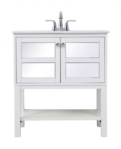 "Mason White 30"" Single Bathroom Mirrored Vanity"
