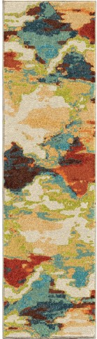 Spoleto Bright Color Distressed Diamond Patches Multi Runner Rug