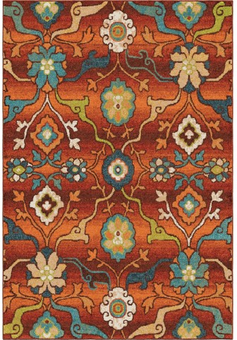Orian Rugs Bright Color Floral Tibet Red Area Large Rug