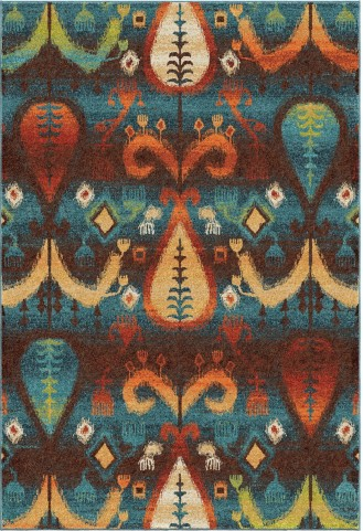 Spoleto Bright Color Southwest Tribal Turk Blue Large Area Rug