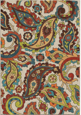 Orian Rugs Bright Color Paisley Ginger Garden Multi Area Large Rug