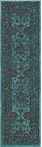 Spoleto Bright Color Modern Ethnicagra Blue Runner Rug