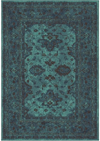 Spoleto Bright Color Modern Ethnicagra Blue Medium Area Rug