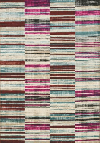 Villa Pink/Brown Barcode Floor Cloth Medium Rug