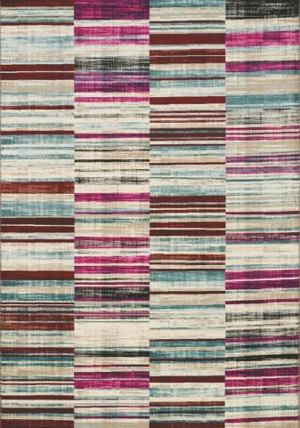 Villa Pink/Brown Barcode Floor Cloth Large Rug