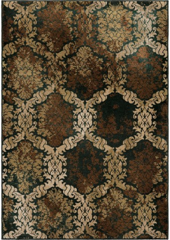 Orian Rugs Insanely Soft Medallion Scrolls Oxfordburst Brown Area Small Rug
