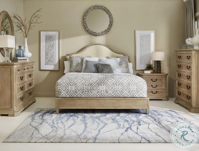Artiste Weathered Oak Kirby Bone Upholstered Cal King Panel Bed