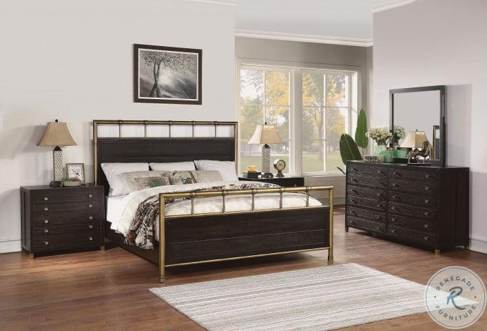 Cologne Gold and Brown Metal Panel Bedroom Set