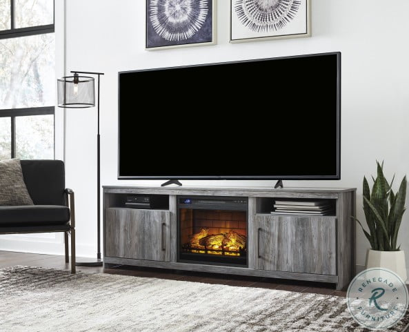 Baystorm Gray XL TV Stand With Infrared Fireplace