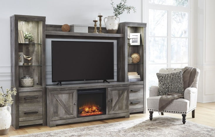 Sensational Wynnlow Gray Entertainment Wall Unit Complete Home Design Collection Barbaintelli Responsecom