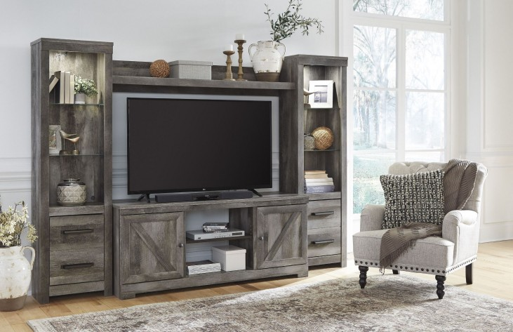 Wynnlow Gray Entertainment Wall Unit From Ashley W440 68 Homegallerystores Com